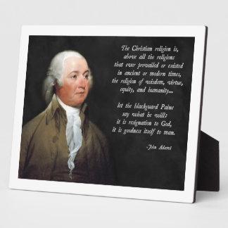 John Adams Christian Plaque