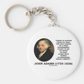 John Adams Danger All Men Maxim Free Government Keychains