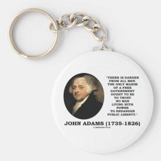 John Adams Danger All Men Maxim Free Government Keychain