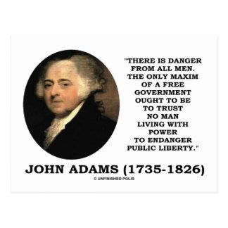 John Adams Danger All Men Maxim Free Government Post Card