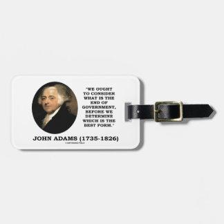 John Adams debe considerar cuál es final del Etiquetas De Equipaje