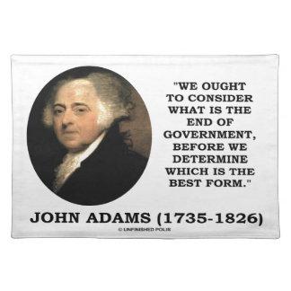 John Adams debe considerar cuál es final del Manteles Individuales