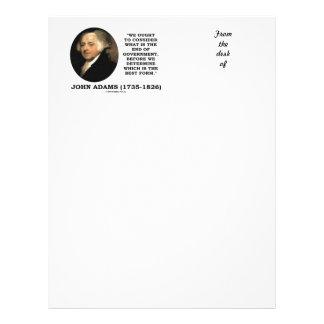 John Adams debe considerar cuál es final del Membretes Personalizados