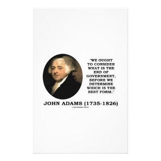 John Adams debe considerar cuál es final del Papeleria Personalizada