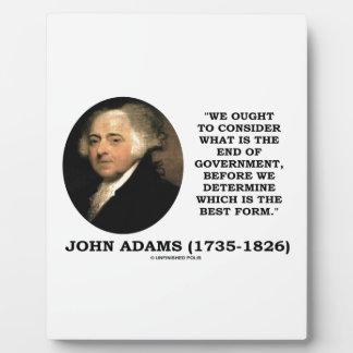 John Adams debe considerar cuál es final del Placas Con Fotos
