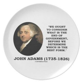 John Adams debe considerar cuál es final del Plato