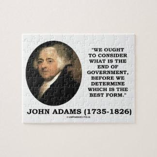 John Adams debe considerar cuál es final del Rompecabeza