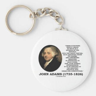 John Adams Dread Two Great Parties Political Evil Keychains