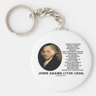 John Adams Dread Two Great Parties Political Evil Keychain
