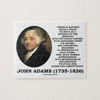 John Adams Dread Two Great Parties Political Evil Jigsaw Puzzle
