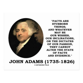 John Adams Facts Are Stubborn Things Evidence Postcard