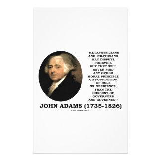 John Adams Metaphysicians Politicians Consent Customized Stationery