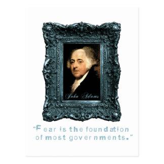 John Adams: Most Govts Based on Fear Postcard