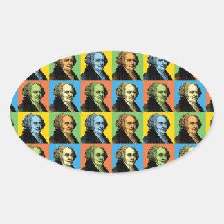 John Adams Pop-Art Oval Sticker