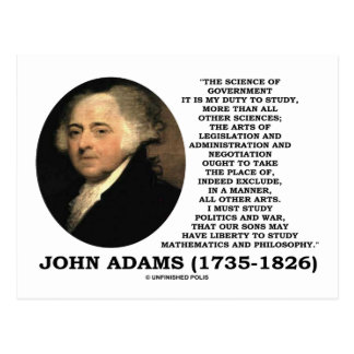 John Adams Science Of Government Politics Quote Postcard