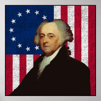 John Adams y la bandera americana -- Frontera Posters