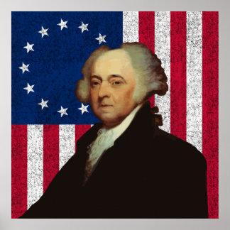 John Adams y la bandera americana Posters
