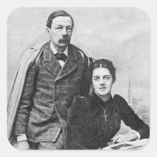 John Addington Symonds y su hija, 1891 Pegatina Cuadrada