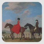 John and Sophia Musters riding at Colwick Hall Square Sticker