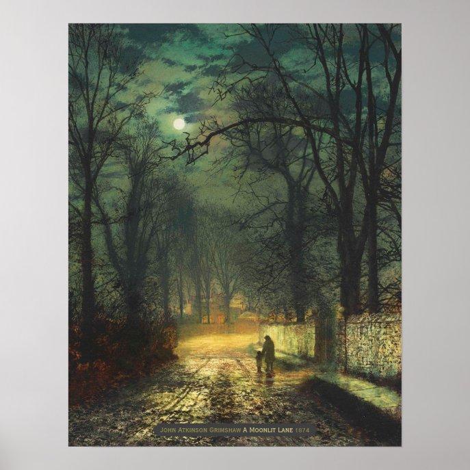 John Atkinson Grimshaw A moonlit lane 1874 CC0325 Poster