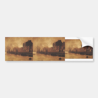 John Atkinson Grimshaw- Evening, Whitby Harbour Car Bumper Sticker