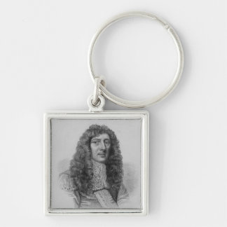 John Aubrey, engraved by Charles Eden Wagstaff Silver-Colored Square Keychain