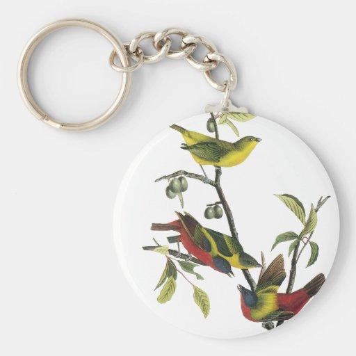 John Audubon Painted Bunting Print Keychain