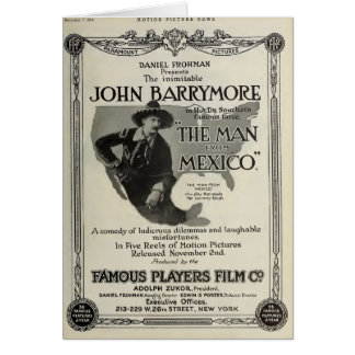 John Barrymore 1914 silent movie exhibitor ad Card