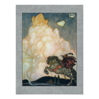 John Bauer Castle of Rosy Clouds Poster