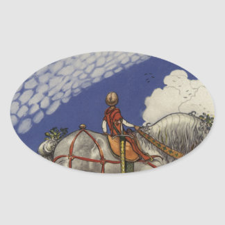 "John Bauer - ""Into the Wide World"" Oval Sticker"