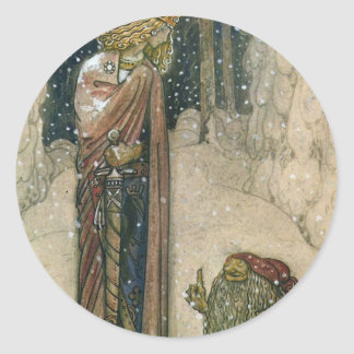 John Bauer - Princess and Troll Classic Round Sticker
