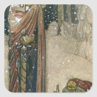 John Bauer - Princess and Troll Square Sticker