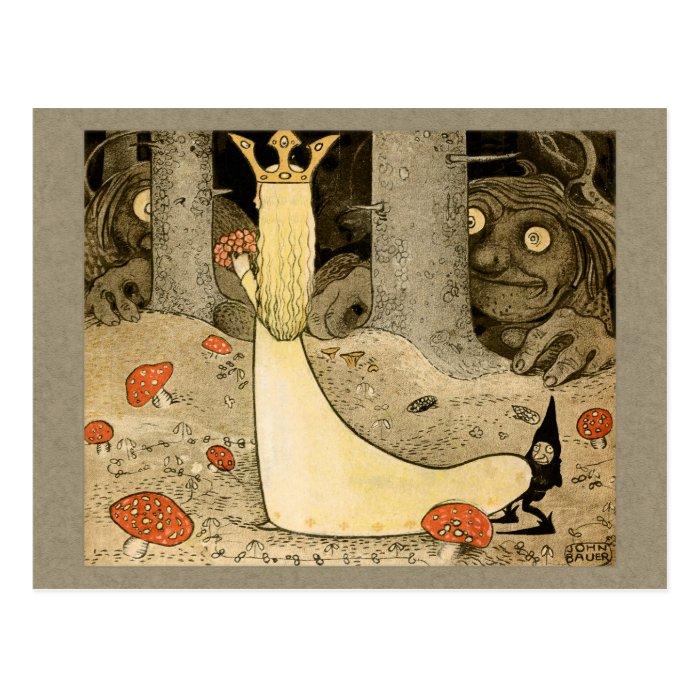 John Bauer Princess Daga and the troll CC0807 Postcard