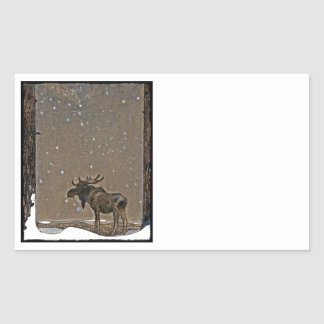John Bauer s Christmas Moose Rectangle Stickers