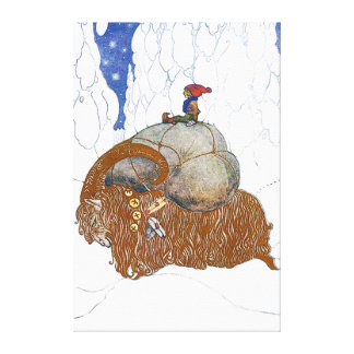 John Bauer The Christmas Goat Canvas Print