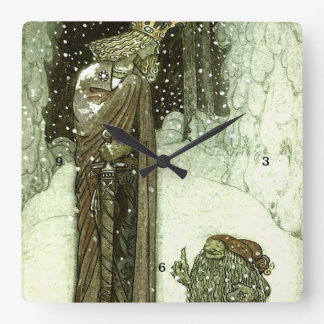 John Bauer The Princess and the Troll Square Wall Clock