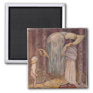 John Bauer TROLL HERB 2 Inch Square Magnet