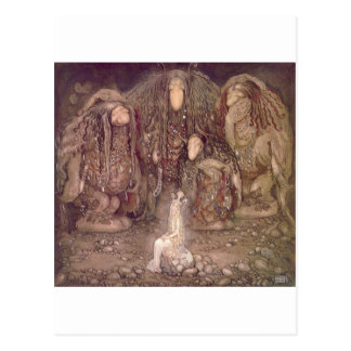 John Bauer - Trolls with an abducted princess Postcard