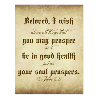 John Bible Beloved, I wish that you may prosper Postcard