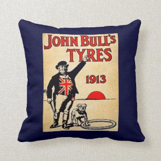 John Bull Tyres 1913 English Vintage Tires Advert Pillow