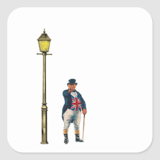 John Bull Victorian Union Jack Illustration Square Sticker