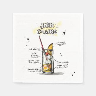 John Collins Drink Recipe Cocktail Napkin