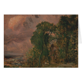 John Constable - A View at Hampstead with Stormy Card