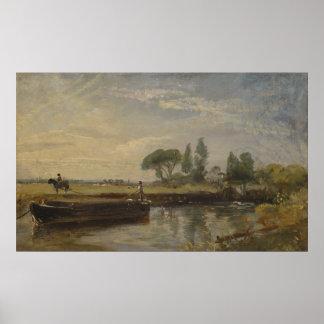 John Constable - Barge below Flatford Lock Poster