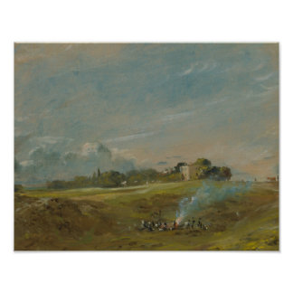 John Constable - Hampstead Heath, with a Bonfire Poster