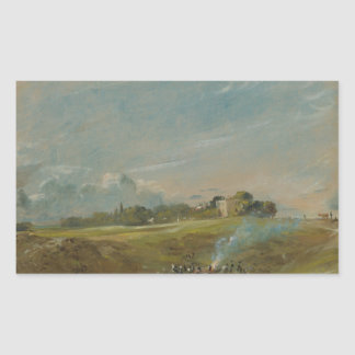 John Constable - Hampstead Heath, with a Bonfire Rectangular Sticker