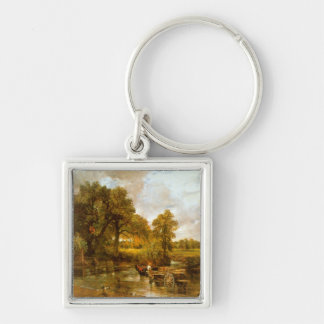 John Constable - Hay Wain Silver-Colored Square Keychain