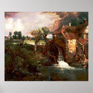 John Constable - molino de Parham (modificado) Póster