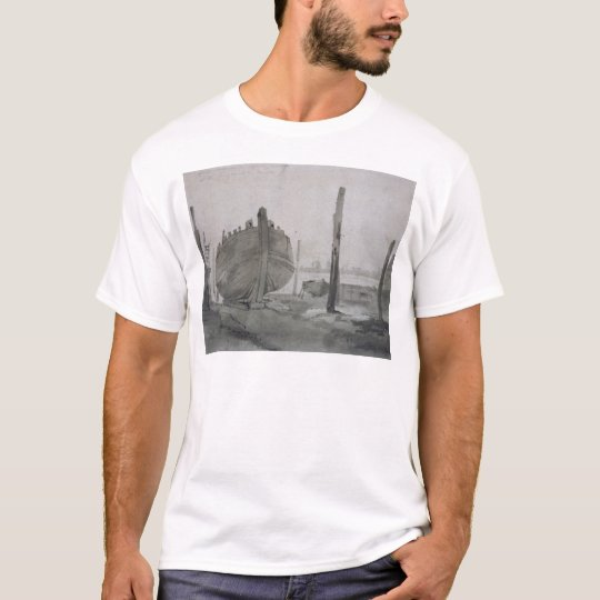 John Constable | River Scene with Vessel at Sunset T-Shirt