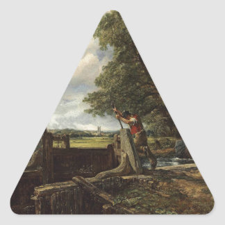 John Constable - The Lock - Countryside Landscape Triangle Sticker